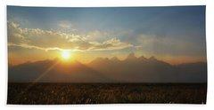 Grand Teton Open Plains Sunset Beach Towel