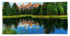 Grand Teton Reflections In Snake River Beach Towel