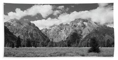 Grand Tetons In Black And White Beach Towel