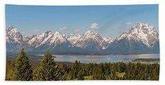 Grand Tetons Over Jackson Lake Panorama Beach Sheet by Brian Harig