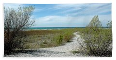 Beach Towel featuring the photograph Grand Traverse Bay Path by LeeAnn McLaneGoetz McLaneGoetzStudioLLCcom