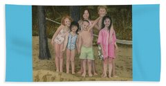 Beach Towel featuring the painting Grandkids On The Beach by Ferrel Cordle