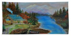 Beach Towel featuring the painting Grandmas Cabin by Leslie Allen