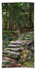Beach Towel featuring the photograph Granite Steps, Camden Hills State Park, Camden, Maine -43933 by John Bald