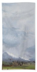 Beach Towel featuring the painting Grantsville Skies by Jane Autry