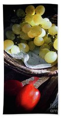 Beach Towel featuring the photograph Grapes And Tomatoes by Silvia Ganora