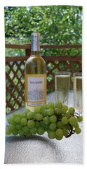 Grapes And Wine Beach Towel by Gordon Mooneyhan