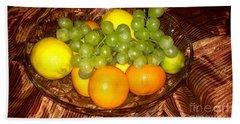 Grapes, Lemons, Mandarins And Lime  Beach Towel
