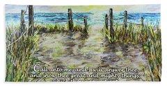 Grassy Beach Post Morning 2 Jeremiah 33 Beach Towel