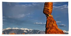Gravity Defying Balanced Rock, Arches National Park, Utah Beach Towel