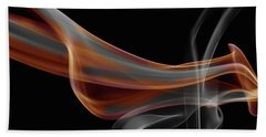 Gray And Orange Smoke Abstract Beach Towel