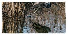 Gray Heron Flew Up Beach Towel by Odon Czintos