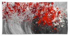 Gray Wave Turning Red Beach Towel