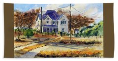 Beach Towel featuring the painting Grayson County Farmhouse by Ron Stephens