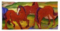 Grazing Horses Iv The Red Horses 1911 Beach Sheet