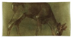 Grazing Roe Deer Oil Painting Beach Towel