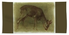 Grazing Roe Deer Oil Painting Beach Sheet