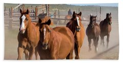 Great American Horse Drive - Coming Into The Corrals Beach Towel