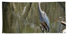 Beach Towel featuring the photograph Great Blue Heron At Johnson Park by Ricky L Jones