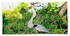 Great Blue Heron At Rookery Beach Towel
