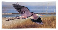 Beach Towel featuring the photograph Great Blue Heron At The Beach by Brian Tarr