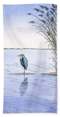 Great Blue Heron Beach Sheet by Charles Harden
