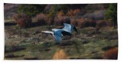 Great Blue Heron In Flight II Beach Towel