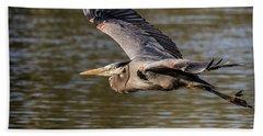 Great Blue Heron In Stratford Beach Towel