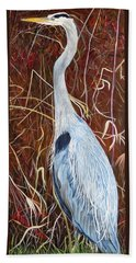 Great Blue Heron Beach Sheet by Marilyn  McNish