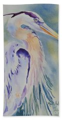 Beach Towel featuring the painting Great Blue Heron by Mary Haley-Rocks