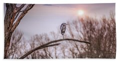 Great Blue Heron On A Dead Tree Branch At Sunset Beach Towel