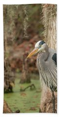 Great Blue Heron On Guard Beach Towel