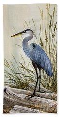 Great Blue Heron Shore Beach Towel