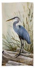 Great Blue Heron Shore Beach Towel by James Williamson