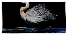 Great Blue Heron Show Off Beach Towel