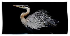 Beach Towel featuring the photograph Great Blue Heron Show Off by Sue Harper