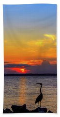 Great Blue Heron Silhouette Beach Towel