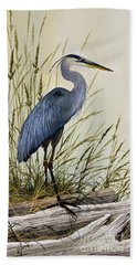 Great Blue Heron Splendor Beach Towel by James Williamson