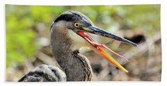 Great Blue Heron Tongue Beach Towel
