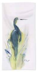 Blue Heron Turning Beach Towel