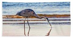 Great Blue Heron Twilight Beach Towel