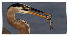 Great Blue Heron W/catfish Beach Towel