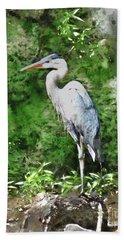 Great Blue Heron Watercolor Beach Sheet