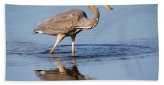 Great Blue Heron With A Small Meal Beach Towel