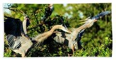 Great Blue Herons In Battle Beach Towel
