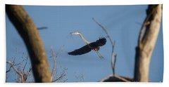 Beach Towel featuring the photograph Great Blues Nesting by David Bearden