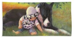 Beach Towel featuring the painting Great Dane With Baby by Nancy Lee Moran