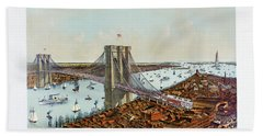 Great East River Suspension Bridge 1892 Beach Towel