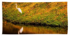 Great Egret At The Lake Beach Towel