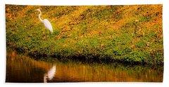 Great Egret At The Lake Beach Sheet